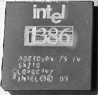 De 80386 SX processor van Intel.