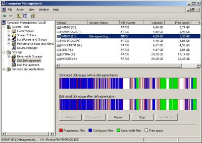 Disk Defragmenter in Computer Management.