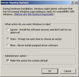 Driver signing opties onder Windows XP.