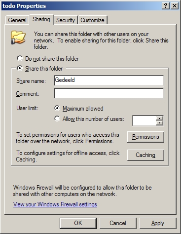 File and printer sharing onder Windows.