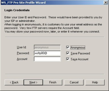 Anonymous FTP instellen in WS FTP Pro.