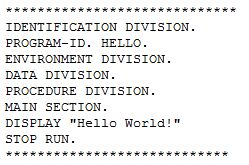 Programmeervoorbeeld: Hello world in Cobol.