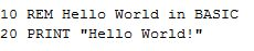 Programmeervoorbeeld: Hello world in Basic.