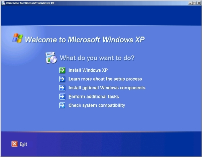 Opstartmenu voor installatie van Windows XP.