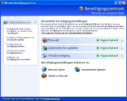 De Beveiligingscentrum van Windows XP.