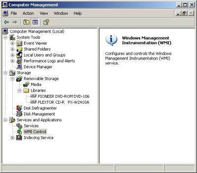 WMI Control in Computer Management.