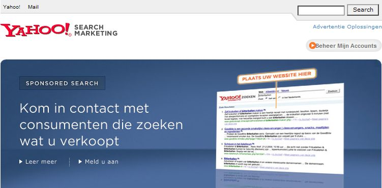 Advertentieprogramma van Yahoo Search Marketing.